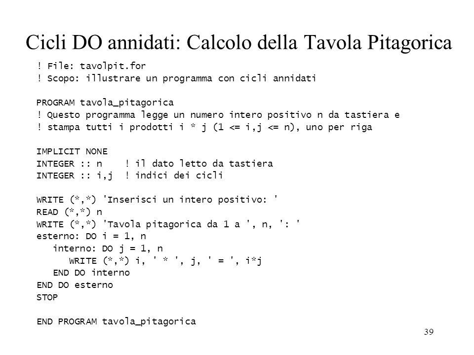 39 Cicli DO annidati: Calcolo della Tavola Pitagorica ! File: tavolpit.for ! Scopo: illustrare un programma con cicli annidati PROGRAM tavola_pitagori