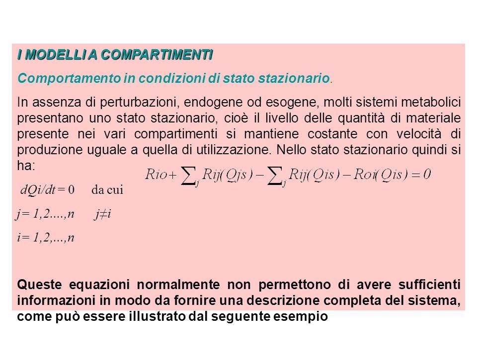 I MODELLI A COMPARTIMENTI Comportamento in condizioni di stato stazionario - ESEMPIO R10 - R21 + R12 = 0 R21 - R12 - R02 = 0 la variabile misurata y 1 corrisponde alla concentrazione del materiale nel compartimento 1 y 1 = Q 1S /V 1 dove V 1 è il volume di distribuzione del compartimento 1.