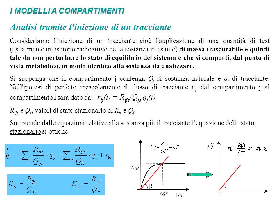 I MODELLI A COMPARTIMENTI Analisi tramite l iniezione di un tracciante (Modelli di cinetica e/o metabolismo di sostanze) Si può quindi dedurre che il tracciante, se il sistema è strettamente in condizioni di regime, presenta una dinamica lineare qualunque sia la dinamica del sistema originale, inoltre tale dinamica lineare risulta anche essere tempo-invariante Gli esperimenti con un tracciante permettono di stimare i coefficienti di trasferimento da un compartimento all altro, ma non permettono in generale di ricostruire il legame fra la Rij e la Qj.