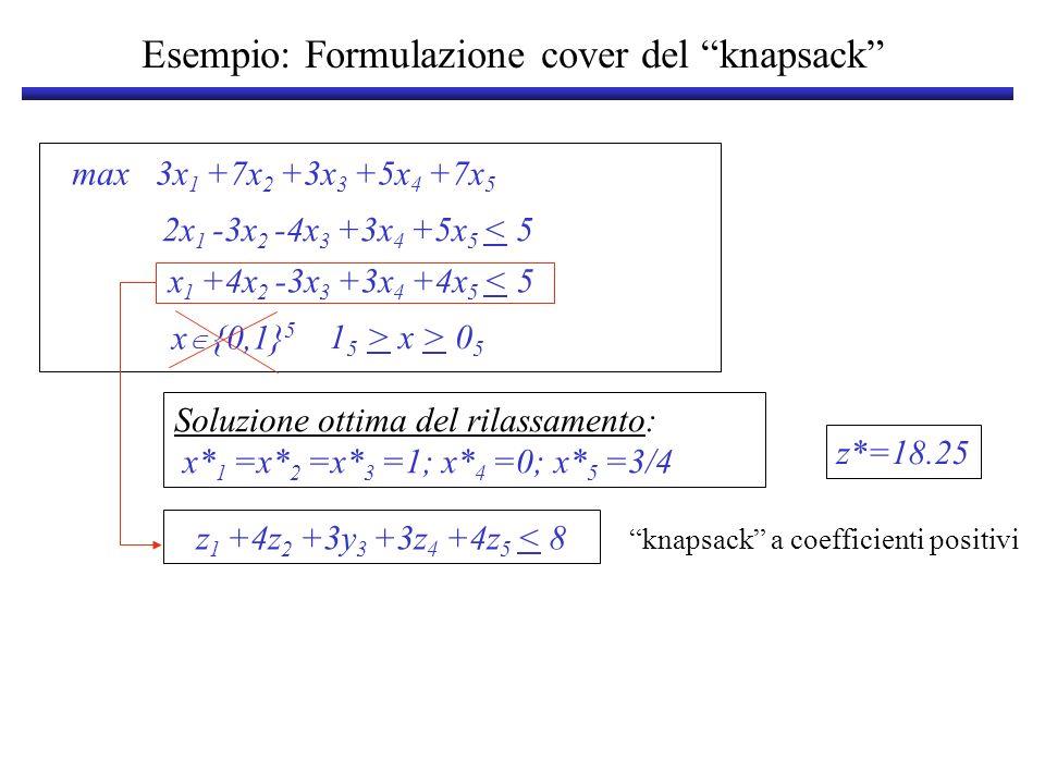 Esempio: Formulazione cover del knapsack max 3x 1 +7x 2 +3x 3 +5x 4 +7x 5 x {0,1} 5 2x 1 -3x 2 -4x 3 +3x 4 +5x 5 < 5 x 1 +4x 2 -3x 3 +3x 4 +4x 5 < 5 1