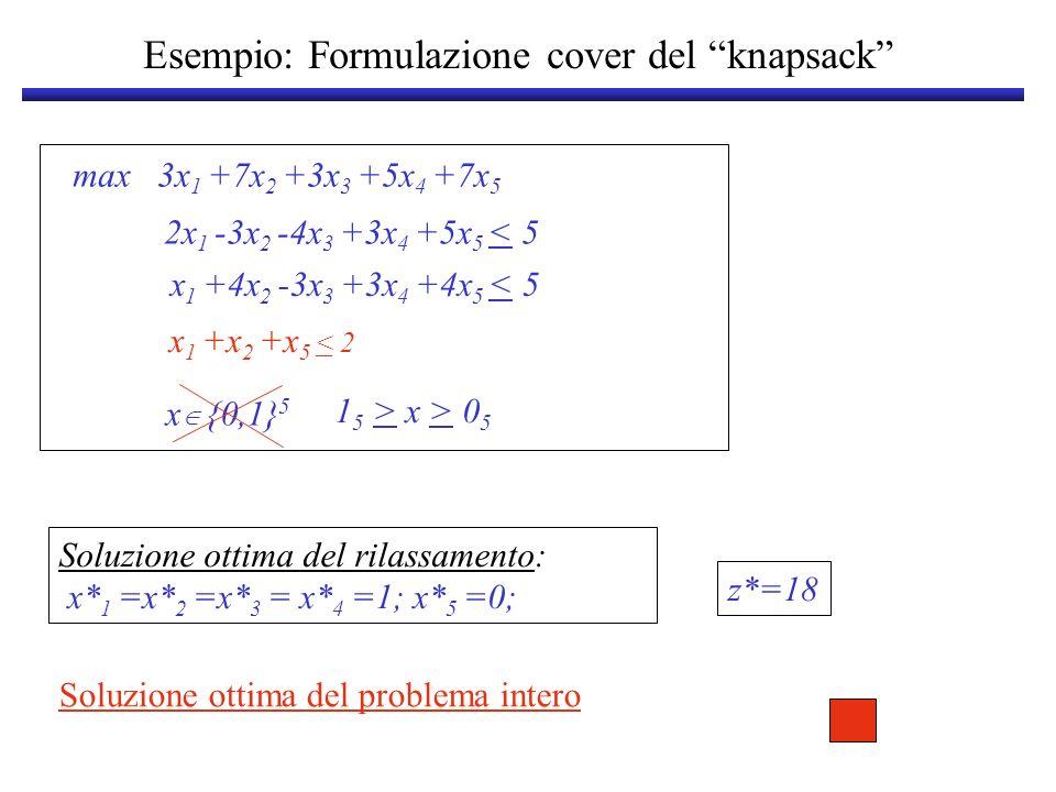 Esempio: Formulazione cover del knapsack x {0,1} 5 max 3x 1 +7x 2 +3x 3 +5x 4 +7x 5 2x 1 -3x 2 -4x 3 +3x 4 +5x 5 < 5 x 1 +4x 2 -3x 3 +3x 4 +4x 5 < 5 1