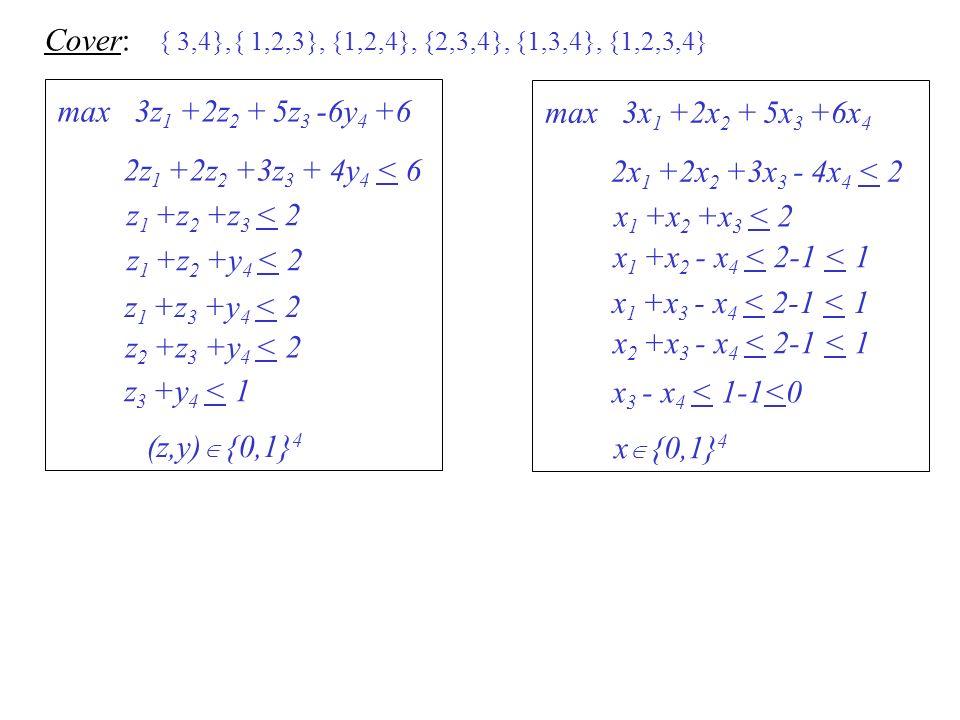 { 3,4},{ 1,2,3}, {1,2,4}, {2,3,4}, {1,3,4}, {1,2,3,4} Cover: max 3z 1 +2z 2 + 5z 3 -6y 4 +6 (z,y) {0,1} 4 z 1 +z 2 +z 3 < 2 z 1 +z 2 +y 4 < 2 z 1 +z 3