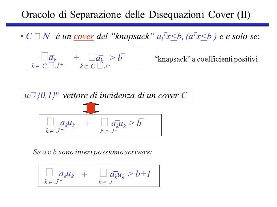 Oracolo di Separazione delle Disequazioni Cover (III) Abbiamo dunque: a k u k k J + a k u k > b+1 k J - + u {0,1} n vettore di incidenza di un cover C se e solo se: B ^ i J + ( x i -1)u i x i u i > -1 ^ i J - A La disequazione associata ad un cover C è violata da x se e solo se il vettore di incidenza di C soddisfa la disequazione: ^ ^ i J + ( x i -1)u i x i u i > -1 ^ i J - a k u k k J + a k u k > b+1 k J - + Come trovare il vettore u .