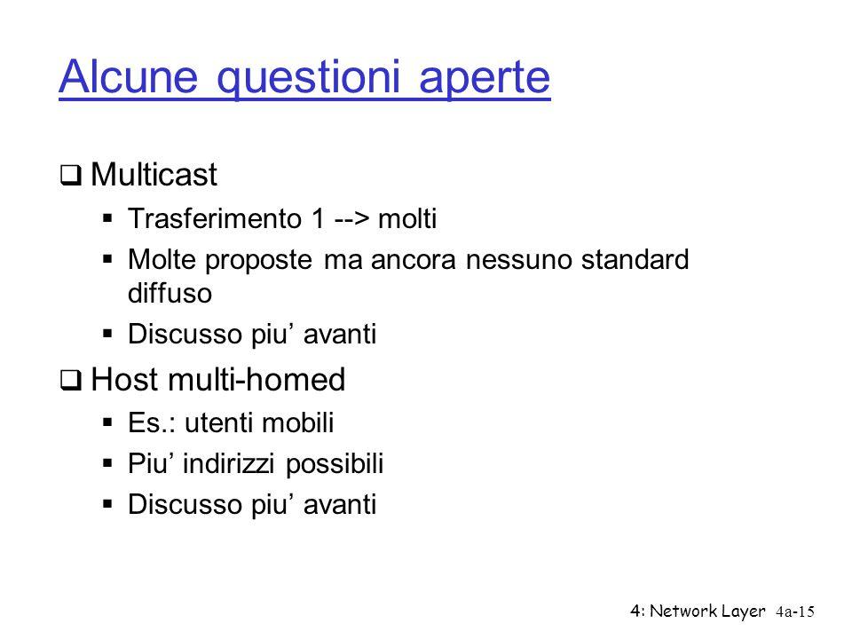 4: Network Layer4a-15 Alcune questioni aperte Multicast Trasferimento 1 --> molti Molte proposte ma ancora nessuno standard diffuso Discusso piu avant