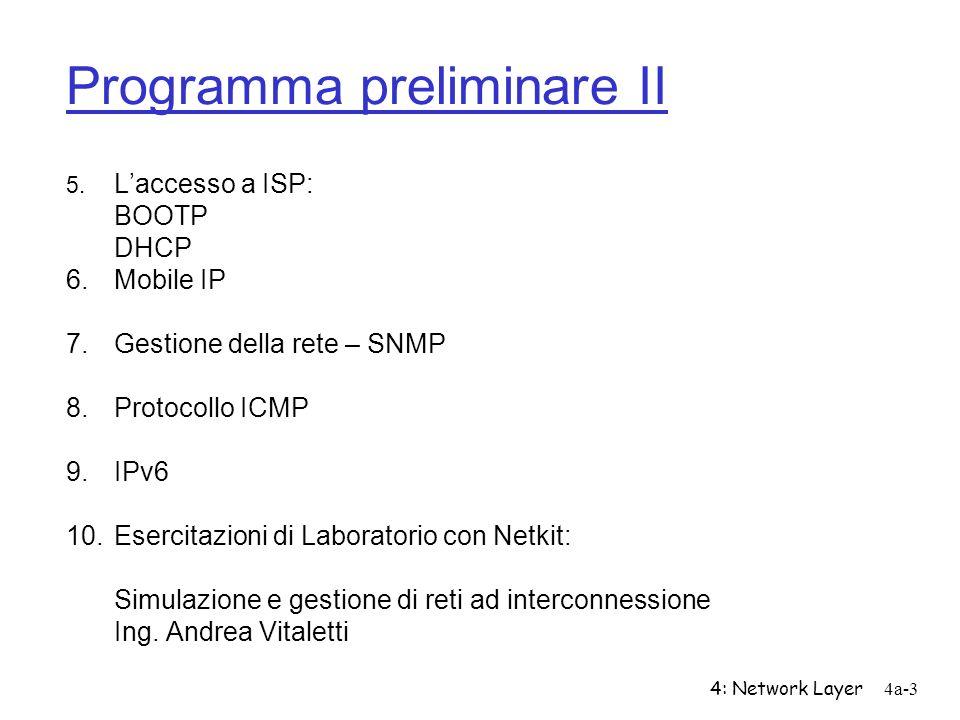 4: Network Layer4a-3 Programma preliminare II Laccesso a ISP: BOOTP DHCP 6.Mobile IP 7.Gestione della rete – SNMP 8.Protocollo ICMP 9.IPv6 10.Esercita