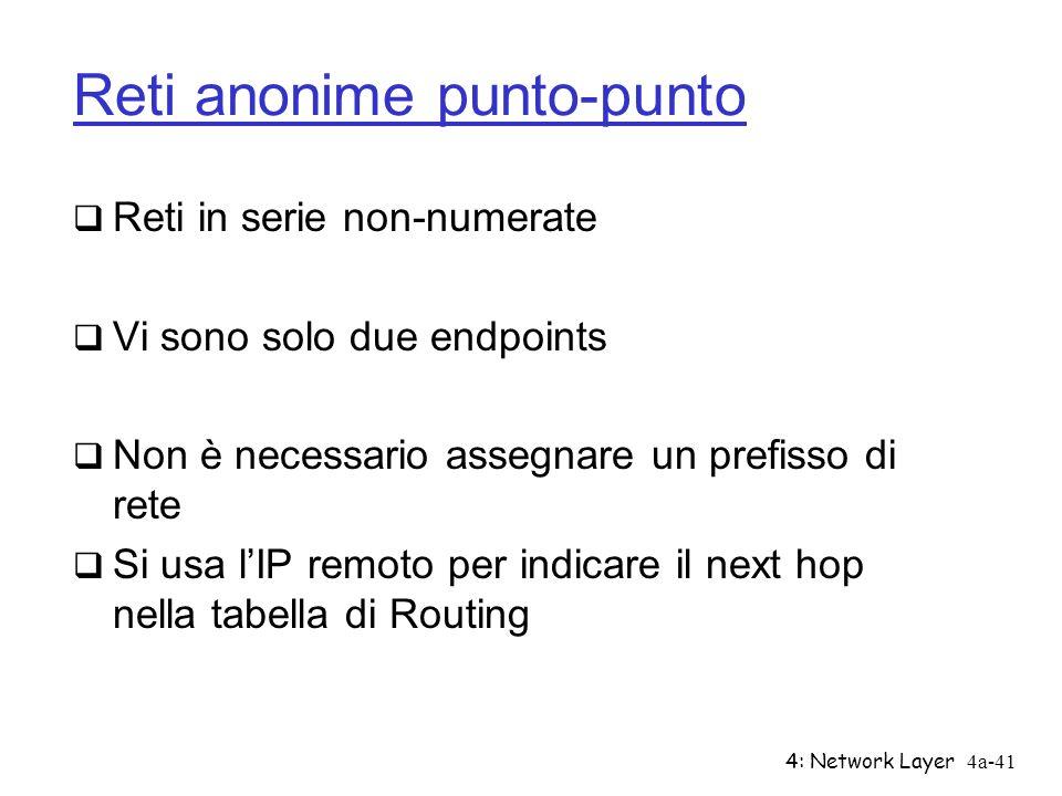 4: Network Layer4a-41 Reti anonime punto-punto Reti in serie non-numerate Vi sono solo due endpoints Non è necessario assegnare un prefisso di rete Si