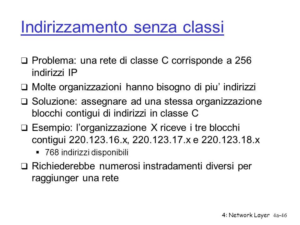 4: Network Layer4a-46 Indirizzamento senza classi Problema: una rete di classe C corrisponde a 256 indirizzi IP Molte organizzazioni hanno bisogno di