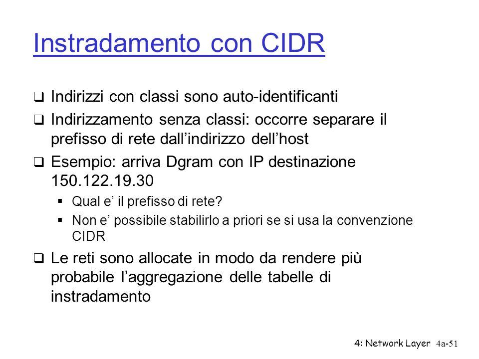 4: Network Layer4a-51 Instradamento con CIDR Indirizzi con classi sono auto-identificanti Indirizzamento senza classi: occorre separare il prefisso di