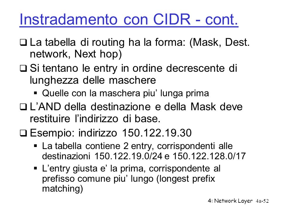 4: Network Layer4a-52 Instradamento con CIDR - cont. La tabella di routing ha la forma: (Mask, Dest. network, Next hop) Si tentano le entry in ordine
