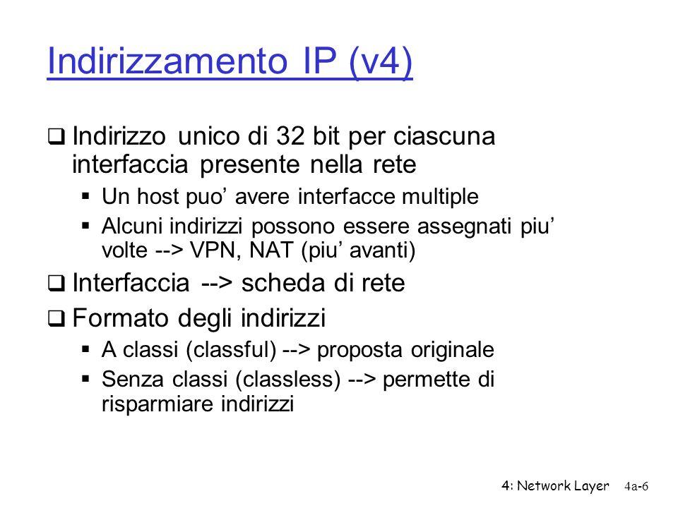 4: Network Layer4a-6 Indirizzamento IP (v4) Indirizzo unico di 32 bit per ciascuna interfaccia presente nella rete Un host puo avere interfacce multip