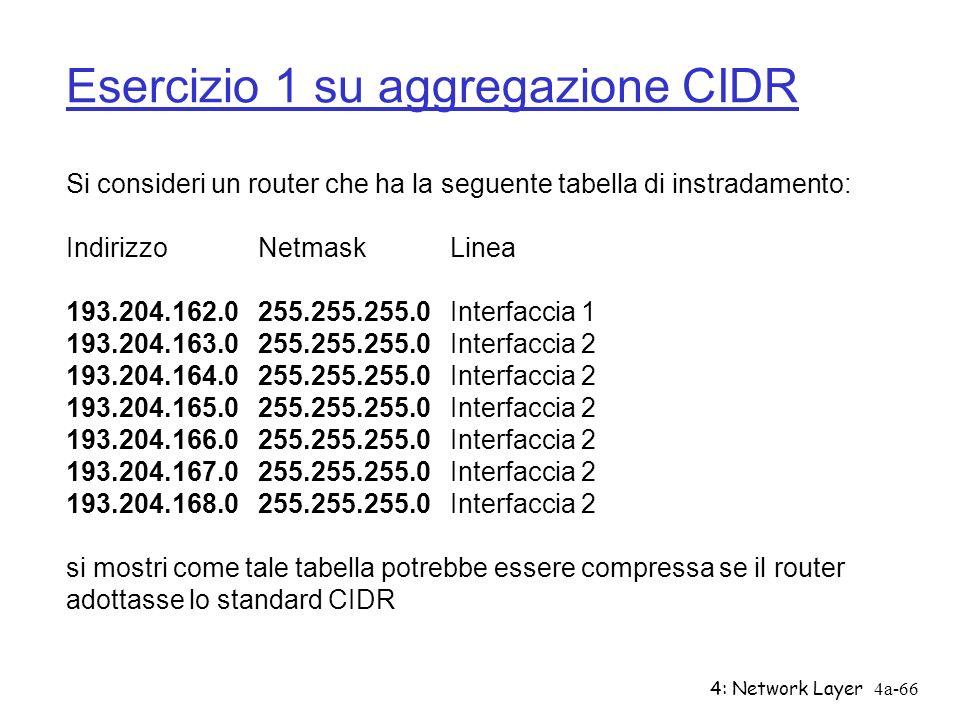 4: Network Layer4a-66 Esercizio 1 su aggregazione CIDR Si consideri un router che ha la seguente tabella di instradamento: Indirizzo Netmask Linea 193