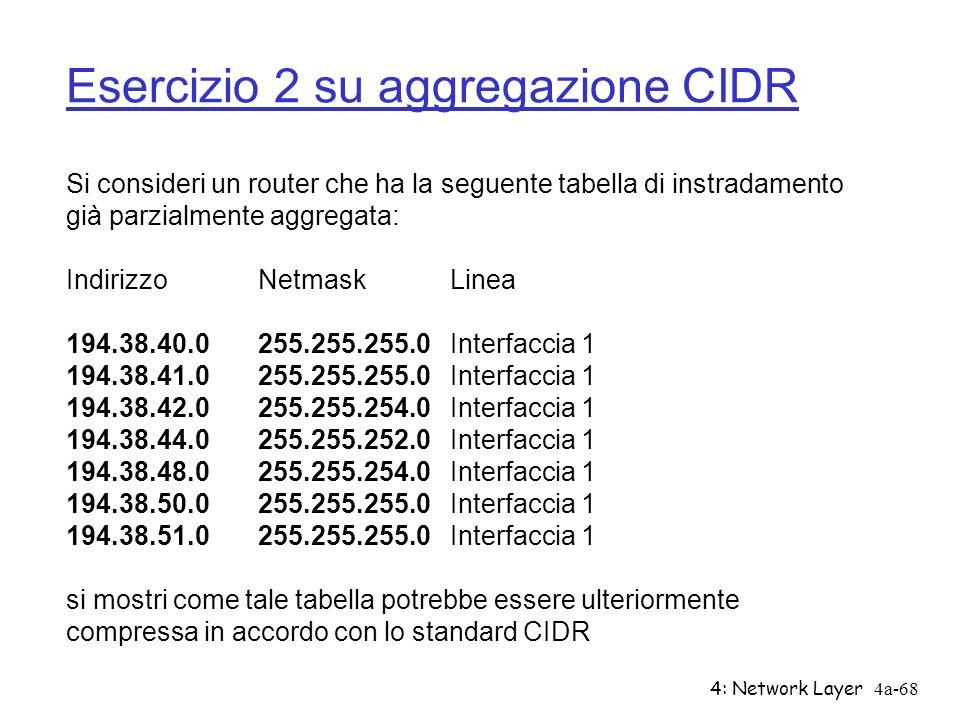 4: Network Layer4a-68 Esercizio 2 su aggregazione CIDR Si consideri un router che ha la seguente tabella di instradamento già parzialmente aggregata:
