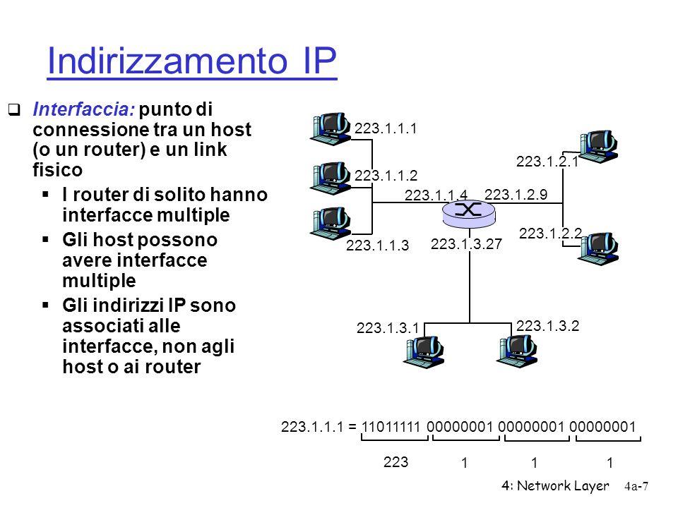 4: Network Layer4a-7 Indirizzamento IP Interfaccia: punto di connessione tra un host (o un router) e un link fisico I router di solito hanno interfacc