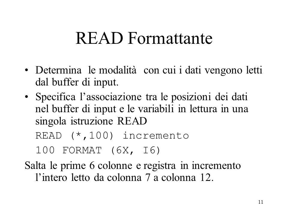 11 READ Formattante Determina le modalità con cui i dati vengono letti dal buffer di input. Specifica lassociazione tra le posizioni dei dati nel buff