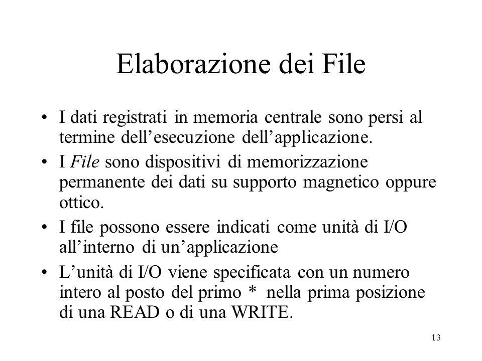 13 Elaborazione dei File I dati registrati in memoria centrale sono persi al termine dellesecuzione dellapplicazione. I File sono dispositivi di memor