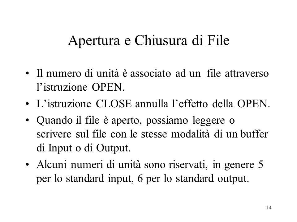 14 Apertura e Chiusura di File Il numero di unità è associato ad un file attraverso listruzione OPEN. Listruzione CLOSE annulla leffetto della OPEN. Q