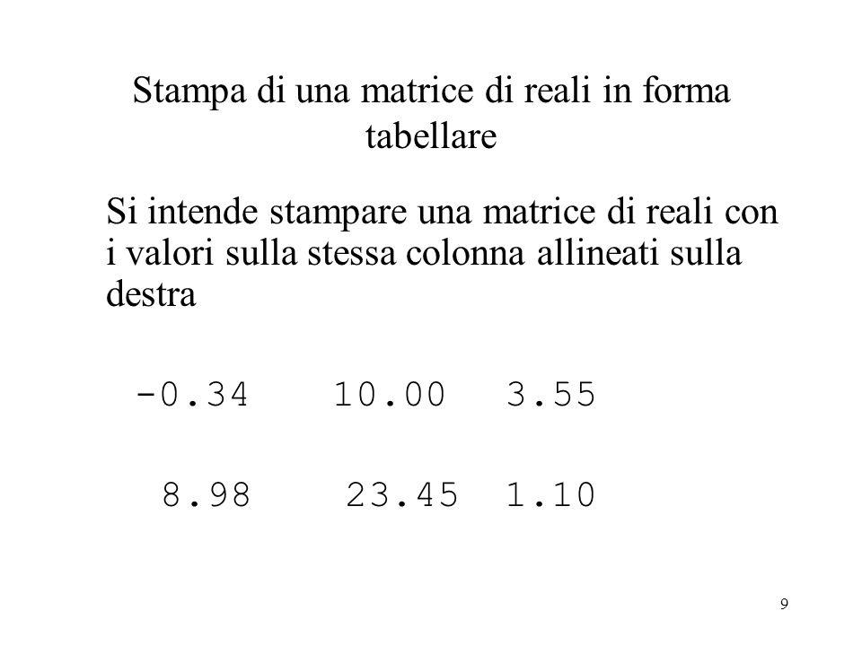 9 Stampa di una matrice di reali in forma tabellare Si intende stampare una matrice di reali con i valori sulla stessa colonna allineati sulla destra