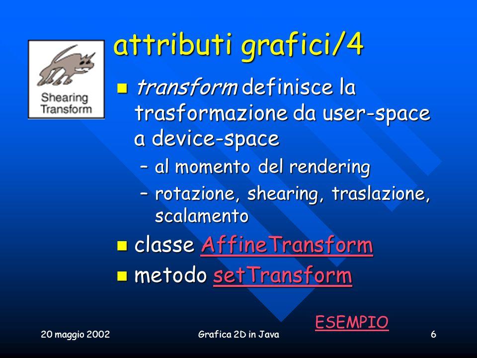 20 maggio 2002Grafica 2D in Java6 attributi grafici/4 transform definisce la trasformazione da user-space a device-space transform definisce la trasfo