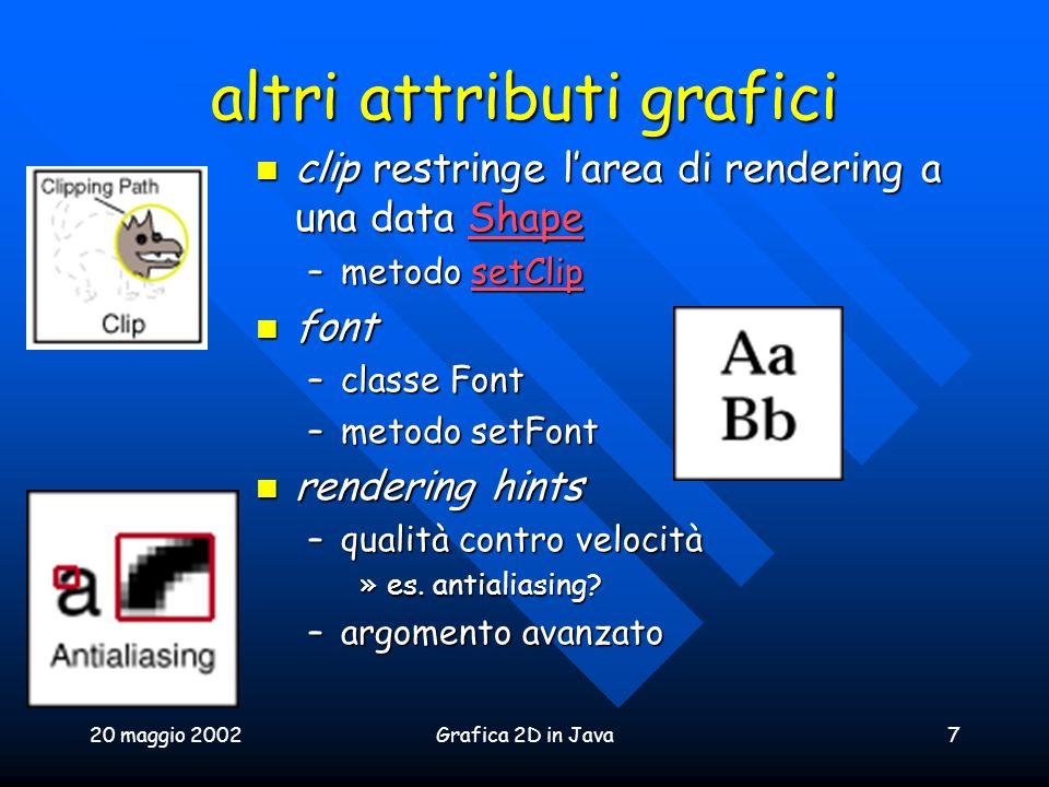 20 maggio 2002Grafica 2D in Java7 altri attributi grafici clip restringe larea di rendering a una data Shape clip restringe larea di rendering a una d
