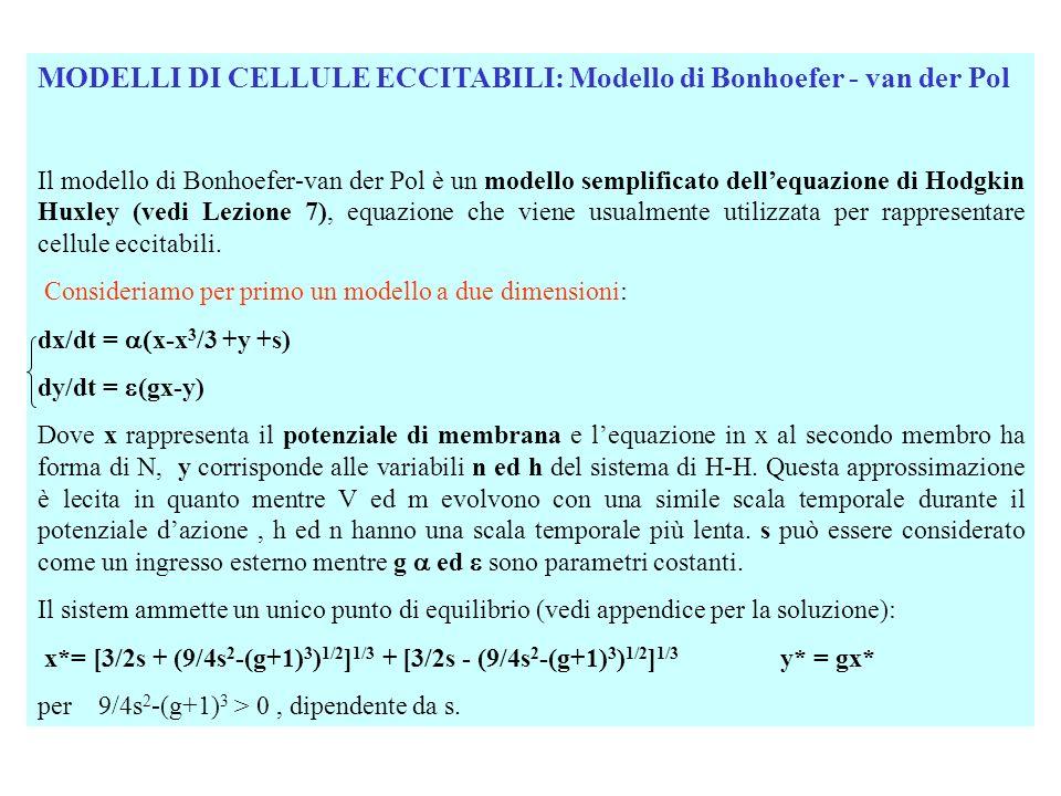 MODELLI DI CELLULE ECCITABILI: Modello di Bonhoefer - van der Pol Valori di s per cui si ottiene una biforcazione di Hoph Per ottenere i valori di s per cui si verifica una biforcazione di Hoph occorre imporre che gli autovalori dello Jacobiano del sistema linearizzato, calcolato nel punto di equilibrio, siano complessi coniugati o immaginari puri.