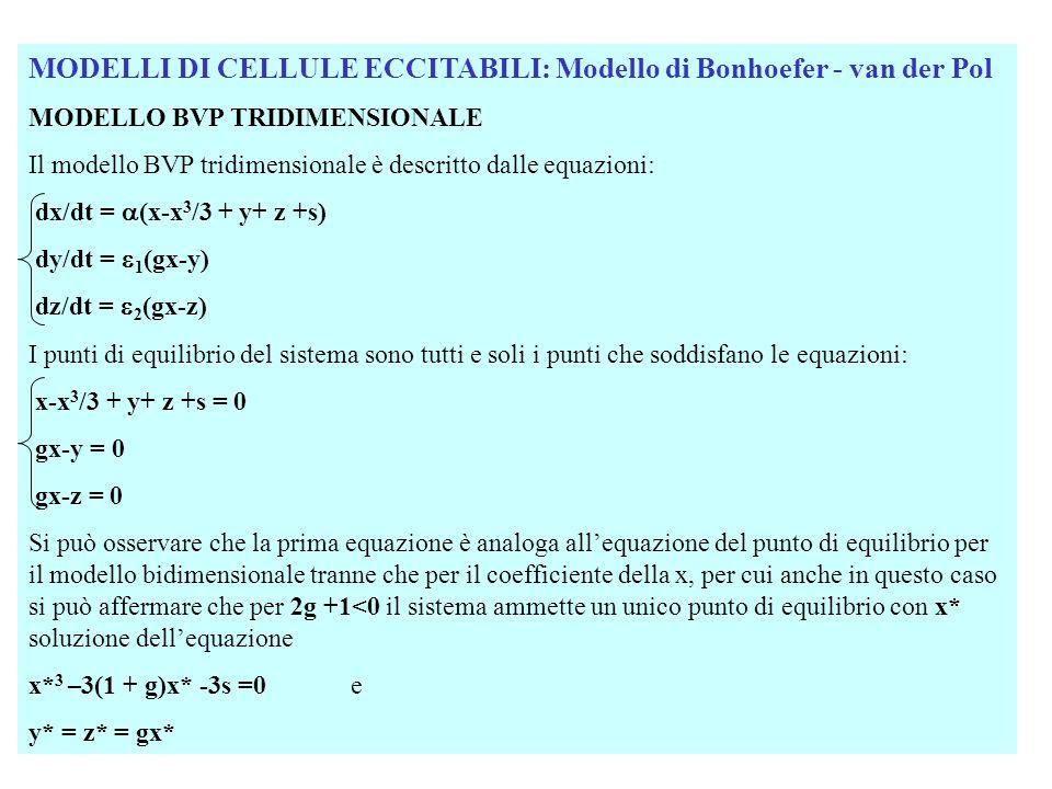 MODELLI DI CELLULE ECCITABILI: Modello di Bonhoefer - van der Pol MODELLO BVP TRIDIMENSIONALE Lo Jacobiano del sistema linearizzato è dato da: - x 2 J g g x=x* Sviluppando i conti si ottiene unequazione di terzo grado: 3 + 1 2 + 2 + 3 = 0 In cui: 1 = - x 2 ; 2 = 1 + g –x* 2 ); 3 = -2 g Per valori opportuni dei parametri: Si hanno ancora due valori di s (s1 e s2) che danno le biforcazioni di Hoph e più precisamente si ha un punto di equilibrio instabile per s1 < s <s2.