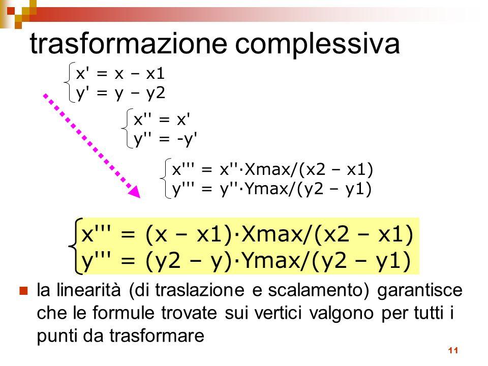 11 trasformazione complessiva la linearità (di traslazione e scalamento) garantisce che le formule trovate sui vertici valgono per tutti i punti da tr