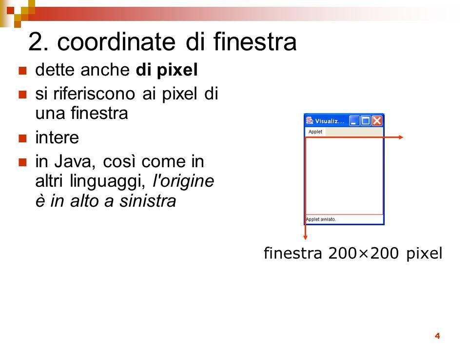 4 2. coordinate di finestra dette anche di pixel si riferiscono ai pixel di una finestra intere in Java, così come in altri linguaggi, l'origine è in