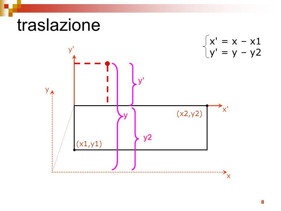 8 traslazione x' = x – x1 y' = y – y2 x' y' x y (x1,y1) (x2,y2) y y y2