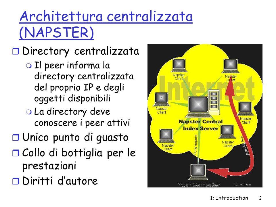 1: Introduction2 Architettura centralizzata (NAPSTER) r Directory centralizzata m Il peer informa la directory centralizzata del proprio IP e degli oggetti disponibili m La directory deve conoscere i peer attivi r Unico punto di guasto r Collo di bottiglia per le prestazioni r Diritti dautore