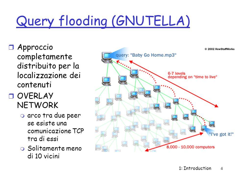 1: Introduction4 Query flooding (GNUTELLA) r Approccio completamente distribuito per la localizzazione dei contenuti r OVERLAY NETWORK m arco tra due peer se esiste una comunicazione TCP tra di essi m Solitamente meno di 10 vicini