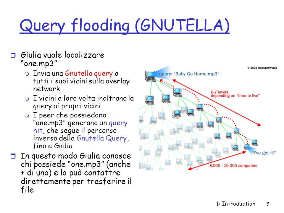 1: Introduction5 Query flooding (GNUTELLA) r Giulia vuole localizzare one.mp3 m Invia una Gnutella query a tutti i suoi vicini sulla overlay network m I vicini a loro volta inoltrano la query ai propri vicini m I peer che possiedono one.mp3 generano un query hit, che segue il percorso inverso della Gnutella Query, fino a Giulia r In questo modo Giulia conosce chi possiede one.mp3 (anche + di uno) e lo può contattre direttamente per trasferire il file