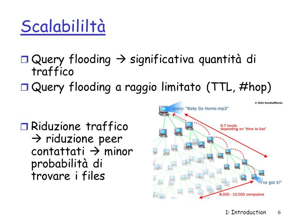 1: Introduction6 Scalabililtà r Query flooding significativa quantità di traffico r Query flooding a raggio limitato (TTL, #hop) r Riduzione traffico riduzione peer contattati minor probabilità di trovare i files