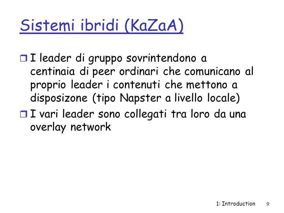 1: Introduction9 Sistemi ibridi (KaZaA) r I leader di gruppo sovrintendono a centinaia di peer ordinari che comunicano al proprio leader i contenuti che mettono a disposizone (tipo Napster a livello locale) r I vari leader sono collegati tra loro da una overlay network