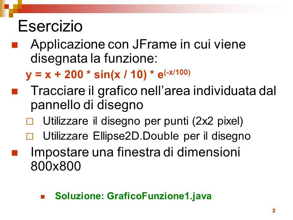 3 Scheletro public class GraficoFunzione1 extends JPanel { public GraficoFunzione1() { super(); } public void paintComponent(Graphics g) { super.paintComponent(g); Graphics2D g2 = (Graphics2D) g; //disegno della funzione } private double f(double x) { return ???;//funzione } public static void main(String[] args) { JFrame f = new JFrame(); f.setContentPane(new GraficoFunzione1()); f.setDefaultCloseOperation(JFrame.EXIT_ON_CLOSE); f.setSize(800, 800); f.setVisible(true); }
