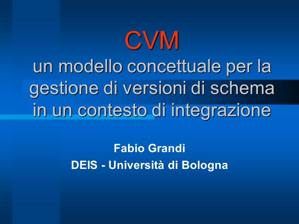 CVM un modello concettuale per la gestione di versioni di schema in un contesto di integrazione Fabio Grandi DEIS - Università di Bologna