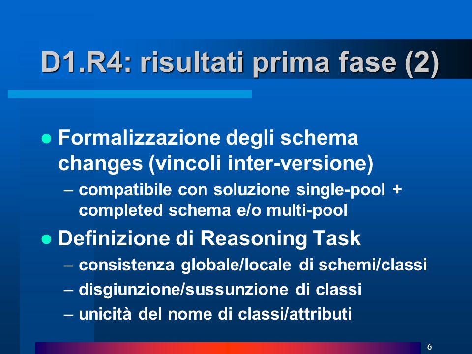 6 D1.R4: risultati prima fase (2) Formalizzazione degli schema changes (vincoli inter-versione) –compatibile con soluzione single-pool + completed schema e/o multi-pool Definizione di Reasoning Task –consistenza globale/locale di schemi/classi –disgiunzione/sussunzione di classi –unicità del nome di classi/attributi