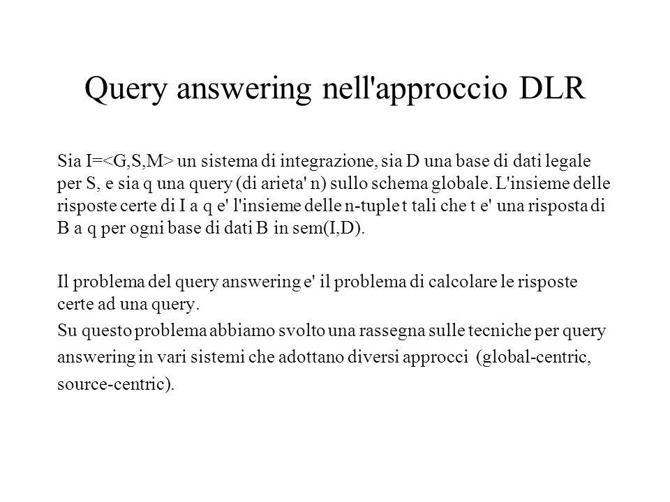 Query answering nell approccio DLR Sia I= un sistema di integrazione, sia D una base di dati legale per S, e sia q una query (di arieta n) sullo schema globale.