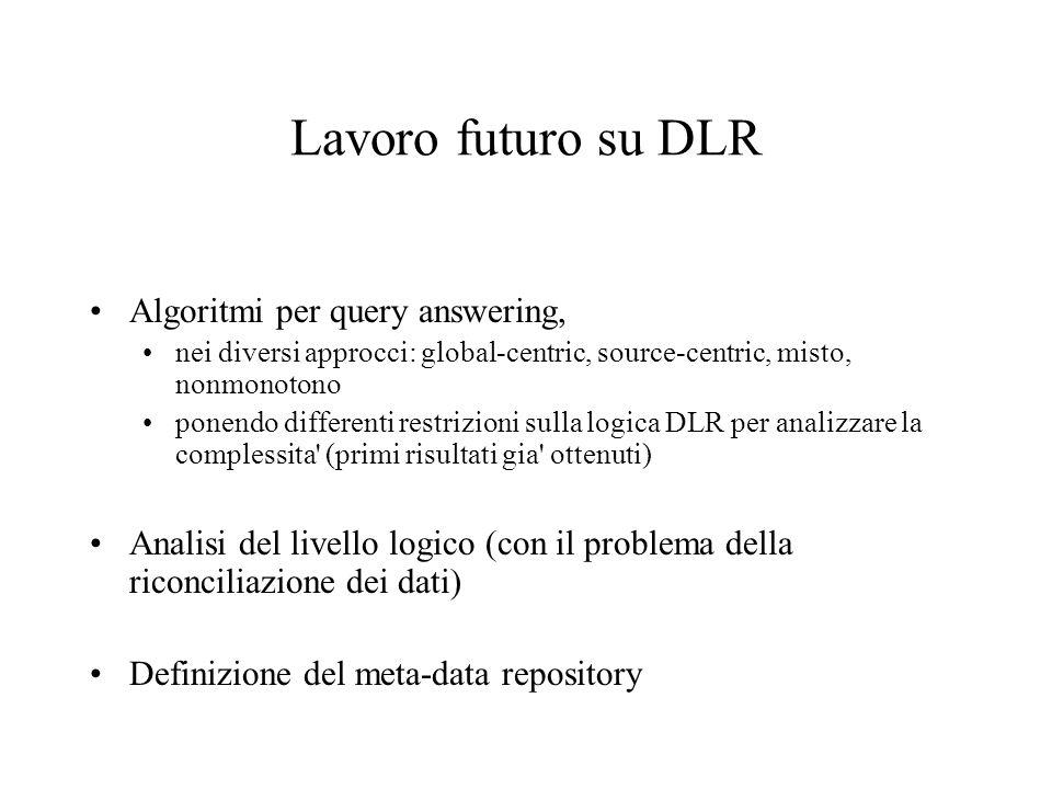 Lavoro futuro su DLR Algoritmi per query answering, nei diversi approcci: global-centric, source-centric, misto, nonmonotono ponendo differenti restrizioni sulla logica DLR per analizzare la complessita (primi risultati gia ottenuti) Analisi del livello logico (con il problema della riconciliazione dei dati) Definizione del meta-data repository
