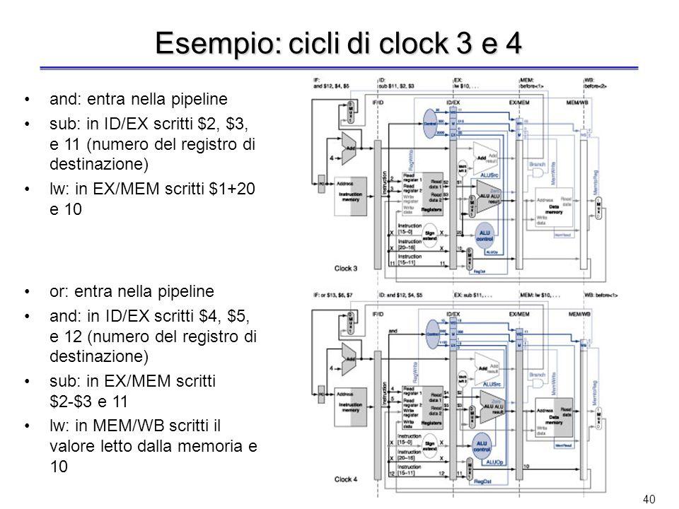 39 Esempio: cicli di clock 1 e 2 lw: entra nella pipeline sub: entra nella pipeline lw: in ID/EX scritti $1, 20 (offset) e 10 (numero del registro di