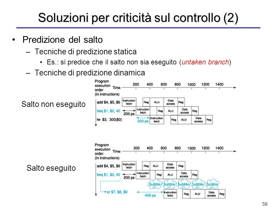 58 Soluzioni per criticità sul controllo Inserimento di bolle –Si blocca la pipeline finché non è noto il risultato del confronto della beq e si sa qu