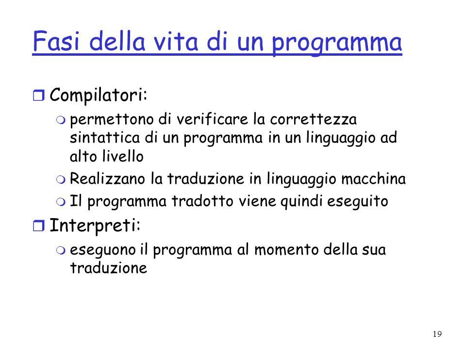 19 Fasi della vita di un programma r Compilatori: m permettono di verificare la correttezza sintattica di un programma in un linguaggio ad alto livell