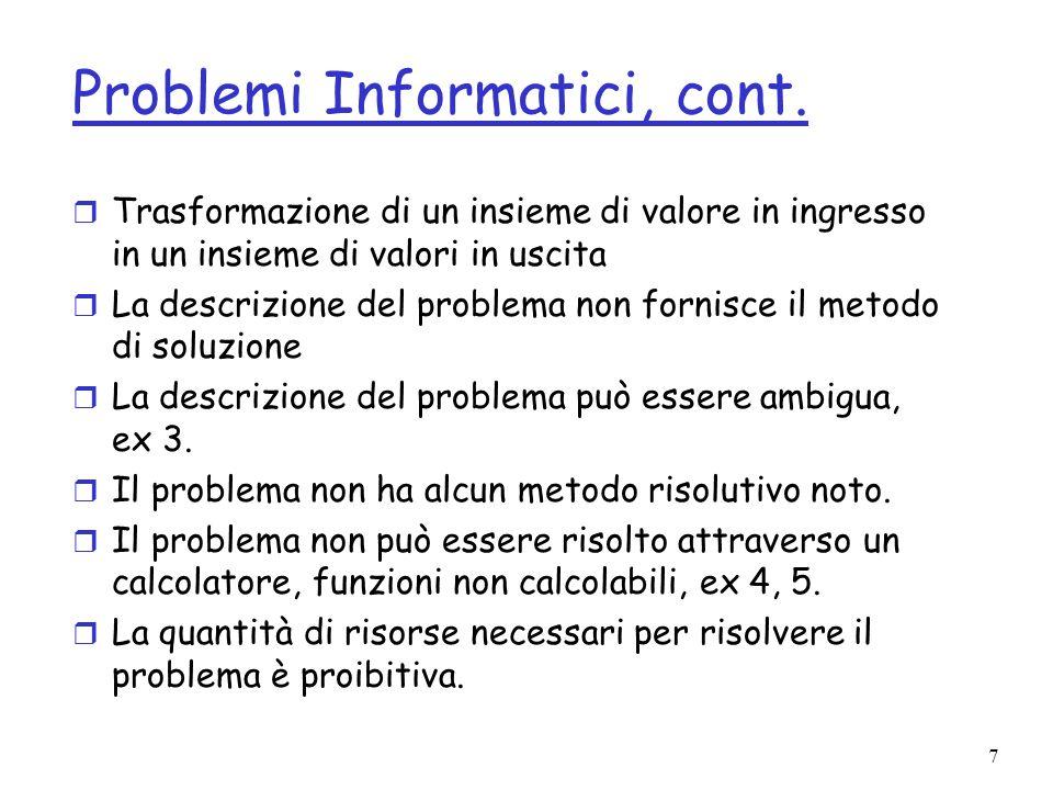 8 Algoritmi e Programmi r Algoritmo descrive il metodo risolutivo.