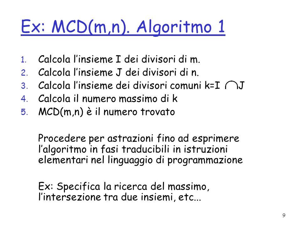 10 Ex: MCD(m,n).Algoritmo 2 Algoritmo di Euclide 1.