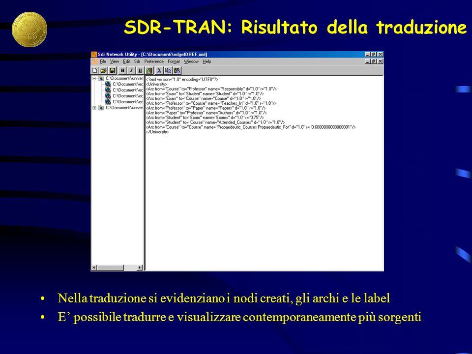 SDR-TRAN: Risultato della traduzione Nella traduzione si evidenziano i nodi creati, gli archi e le label E possibile tradurre e visualizzare contemporaneamente più sorgenti