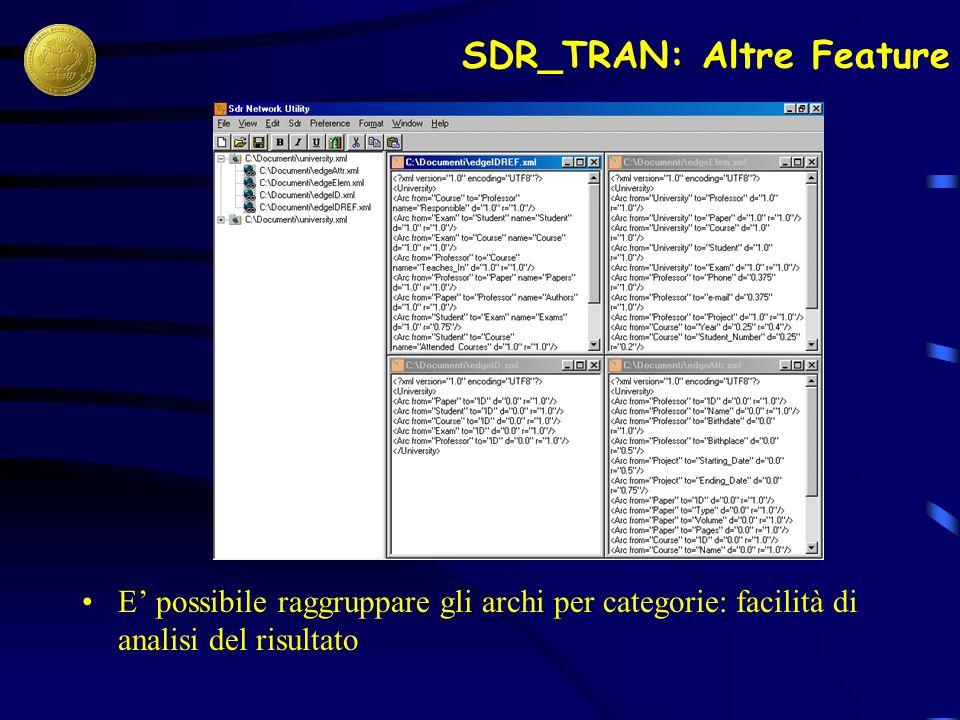SDR_TRAN: Altre Feature E possibile raggruppare gli archi per categorie: facilità di analisi del risultato