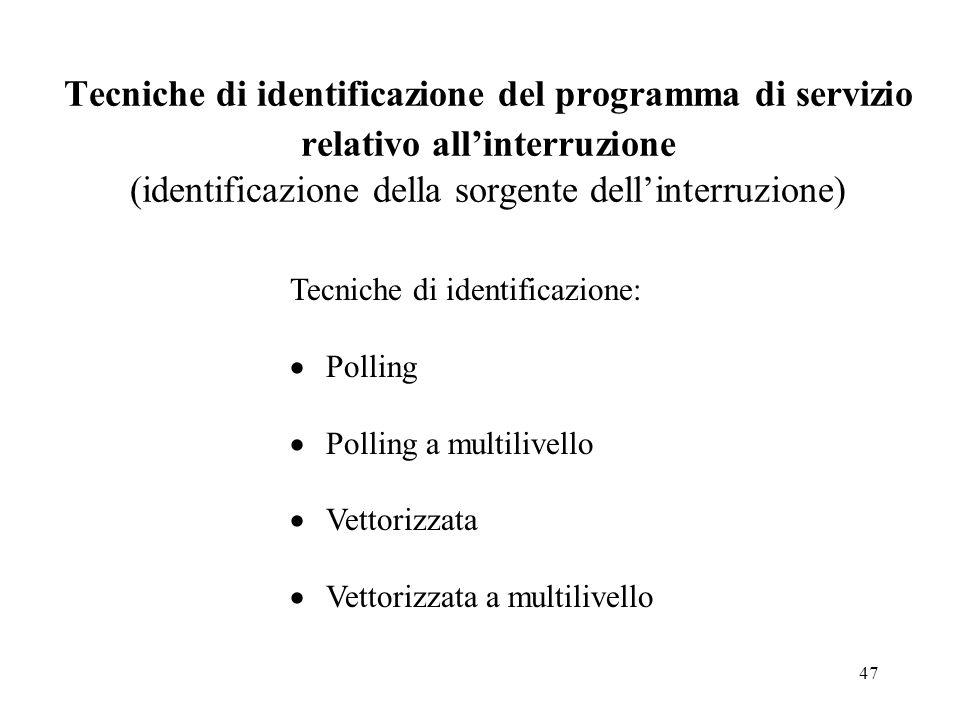 47 Tecniche di identificazione del programma di servizio relativo allinterruzione (identificazione della sorgente dellinterruzione) Tecniche di identificazione: Polling Polling a multilivello Vettorizzata Vettorizzata a multilivello