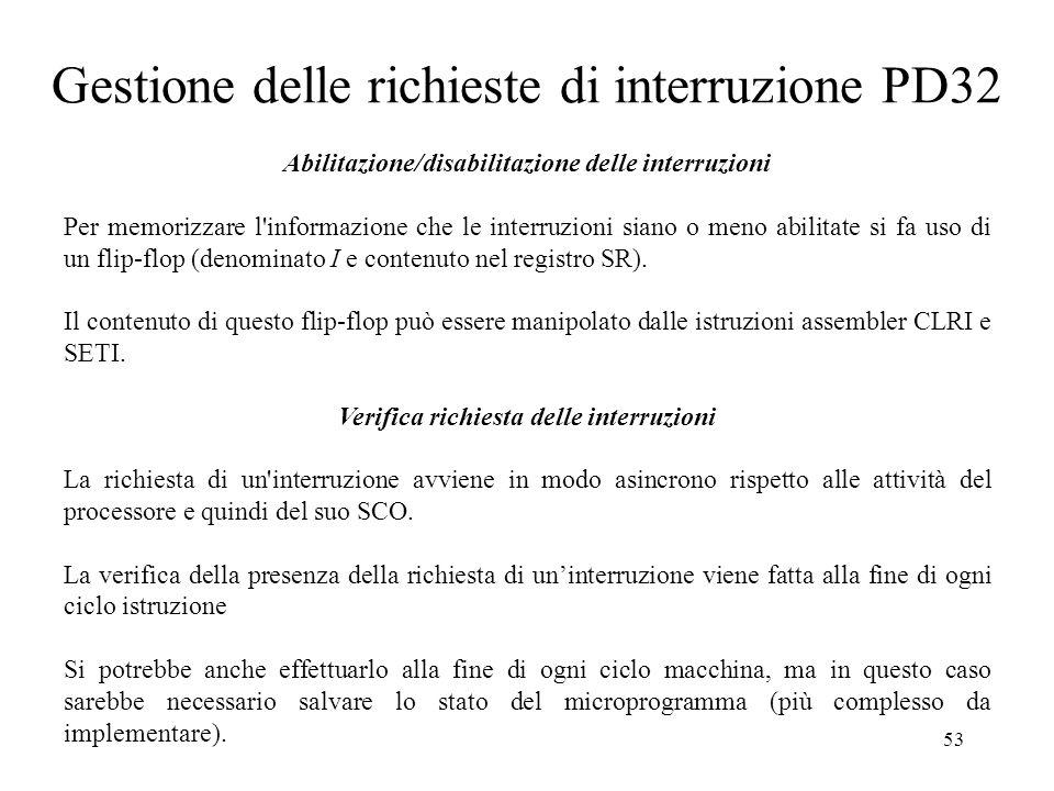 53 Gestione delle richieste di interruzione PD32 Abilitazione/disabilitazione delle interruzioni Per memorizzare l'informazione che le interruzioni si