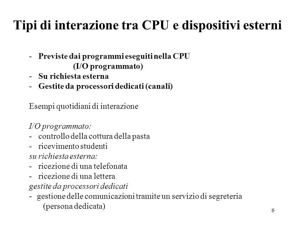 6 Tipi di interazione tra CPU e dispositivi esterni - Previste dai programmi eseguiti nella CPU (I/O programmato) - Su richiesta esterna - Gestite da