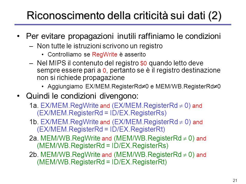Consideriamo la prima criticità (EX): sub $2, $1, $3eand $12, $2, $5 –E verificata la condizione 1a EX/MEM.RegisterRd = ID/EX.RegisterRs = $2 Consider