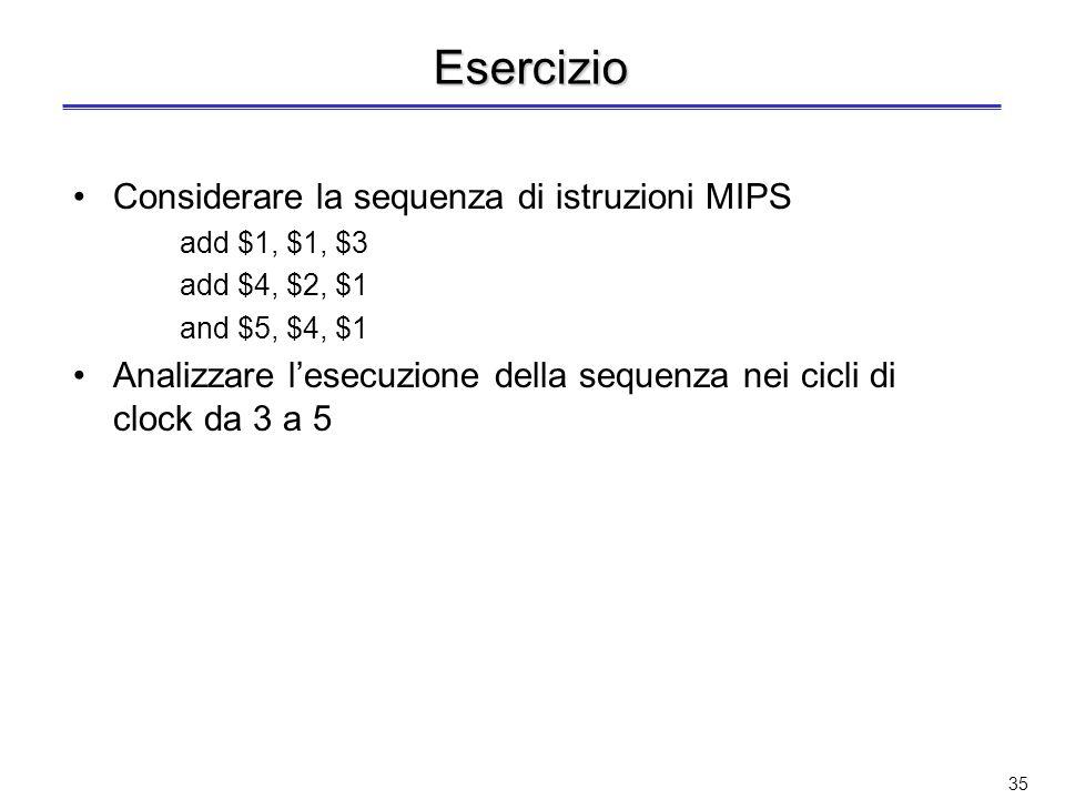 34 Modifica per calcolare indirizzo di memoria (dato alla somma del contenuto di un registro con indirizzo di 16 bit esteso a 32) Si aggiunge un MUX p